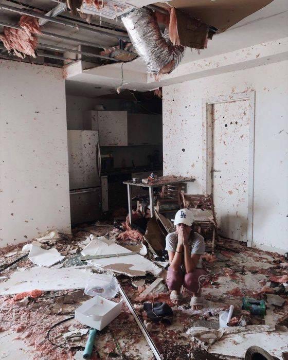 Lorrayne mostra como ficou o apartamento onde ela e o marido moravam na ilha de St. Martin após passagem de Irma