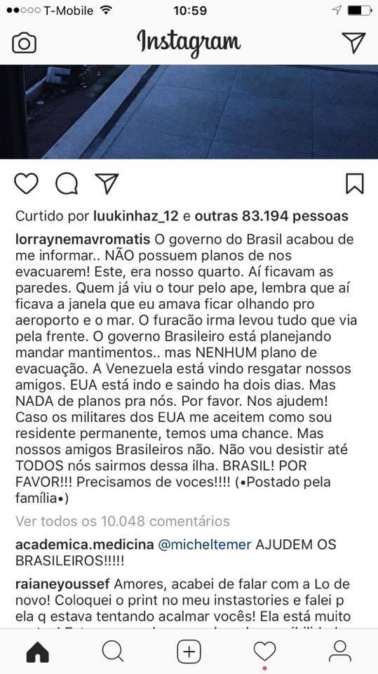 Brasileira Lorrayne Fala sobre Brasileiros Presos nas Ilhas Devastadas por Furacão